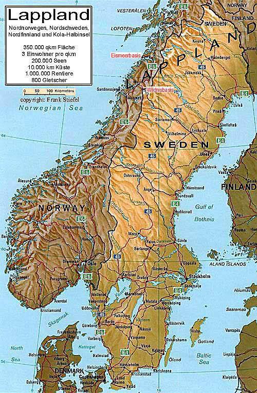 polarkreis norwegen karte Skandinavien Landkarten   Skandinavien Karten   Schweden  polarkreis norwegen karte